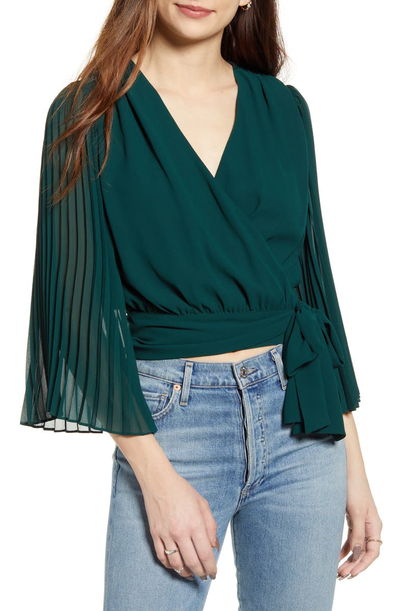 LULUS Pleats & Thank You Wrap Top, Main, color, FOREST GREEN