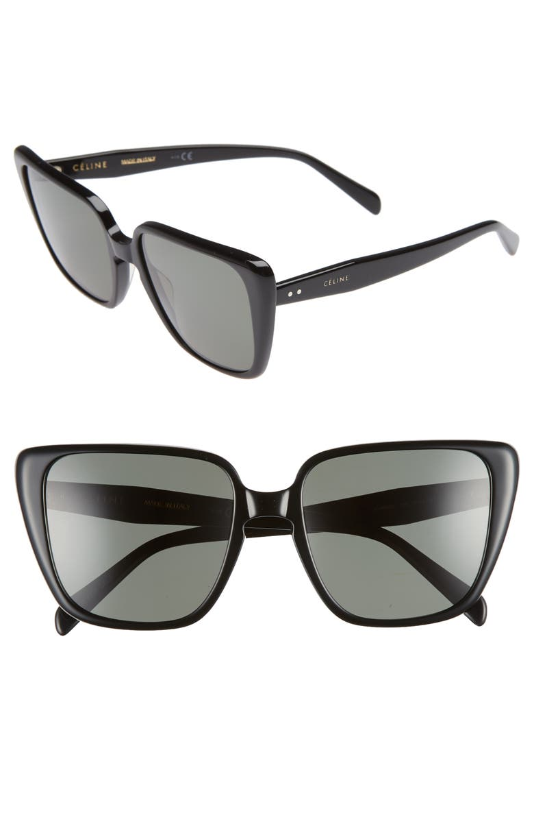 CELINE 57mm Modified Square Cat Eye Sunglasses, Main, color, 002