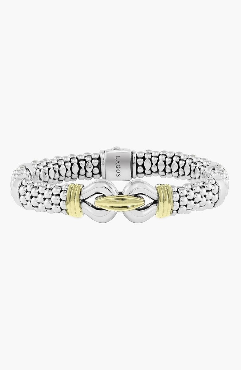 LAGOS 'Derby' Two-Tone Caviar Rope Bracelet, Main, color, STERLING SILVER - GOLD