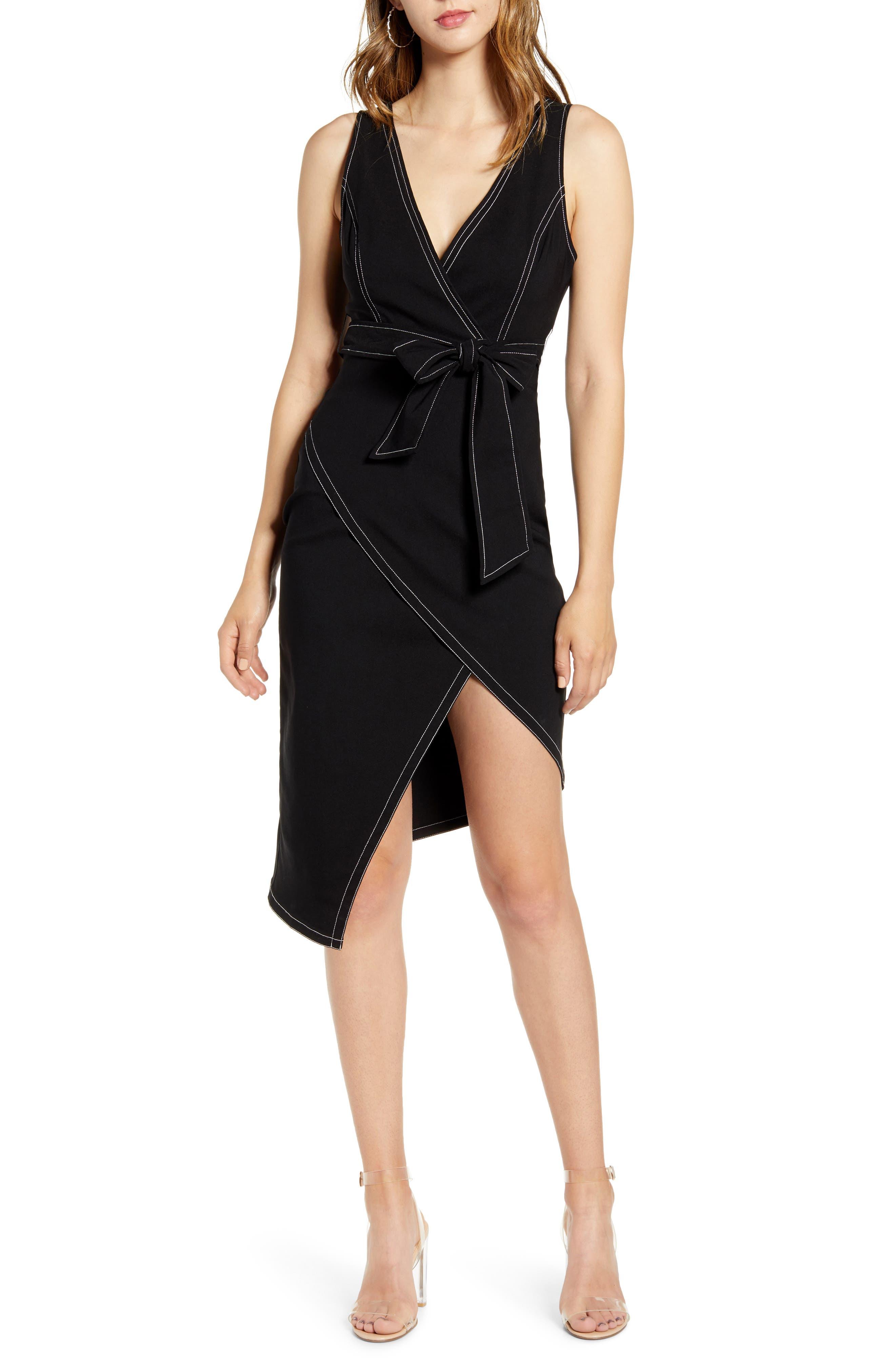 Endless Rose Unbalance Wrap Style Sleeveless Dress, Black