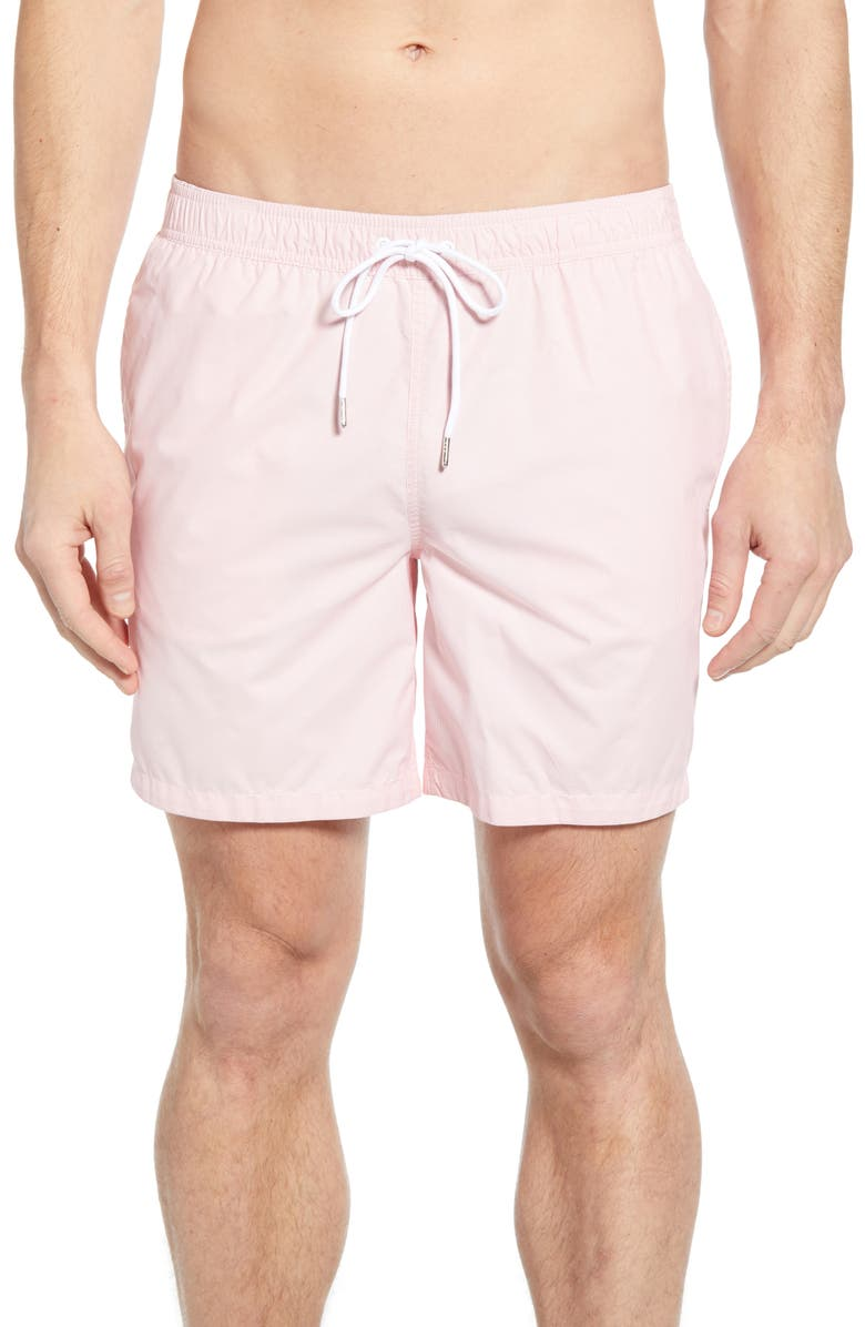 BONOBOS E-Waist 7-Inch Swim Trunks, Main, color, PINK YARN DYE