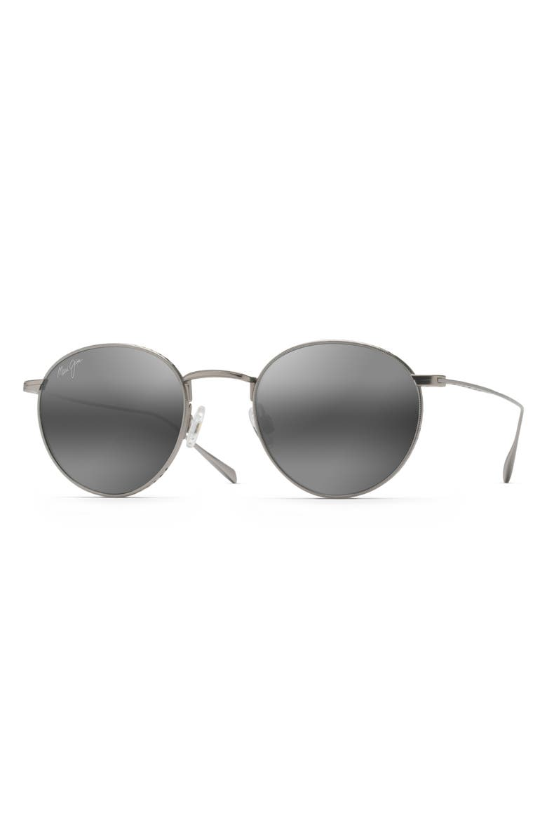 MAUI JIM North Star 48mm Polarized Round Sunglasses, Main, color, MATTE SILVER