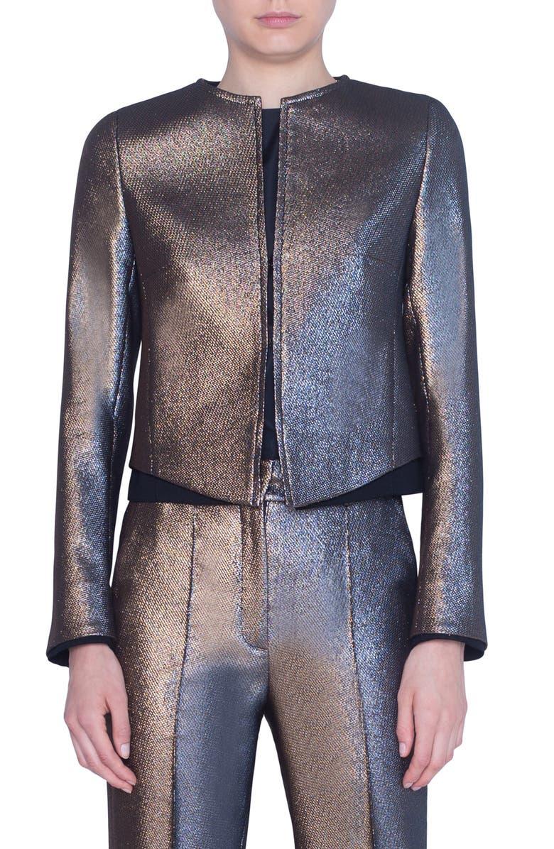 AKRIS PUNTO Iridescent Crop Jacket, Main, color, GOLD