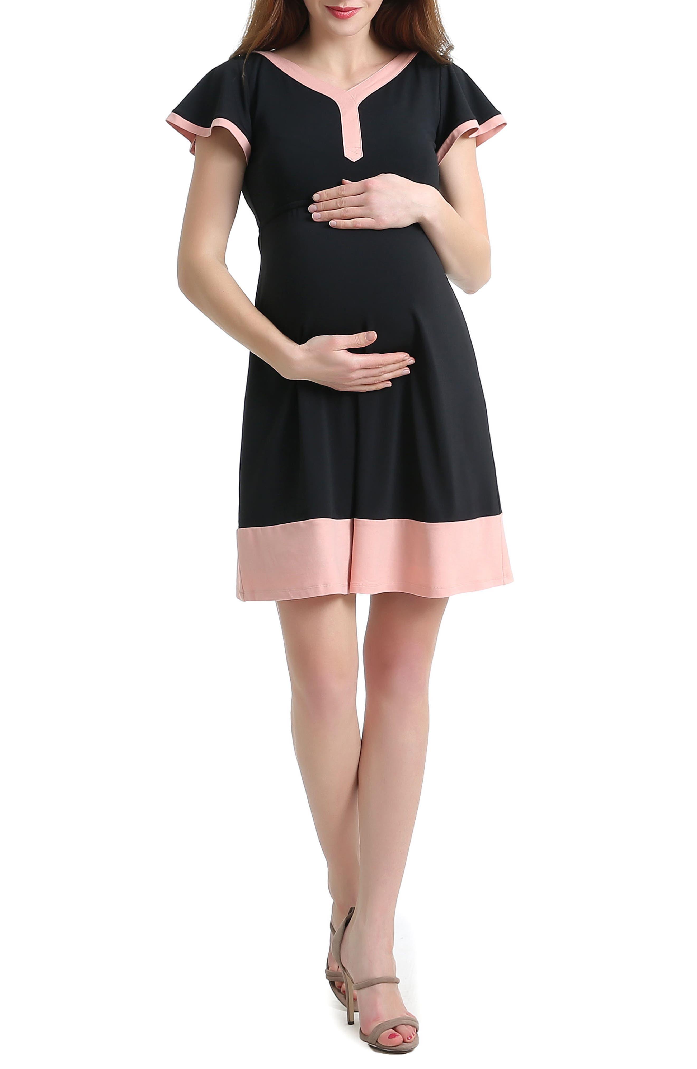 Kimi And Kai Regan Colorblock Skater Maternity Dress, Black