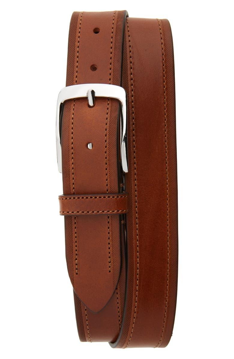 NORDSTROM MEN'S SHOP Mario Leather Belt, Main, color, COGNAC