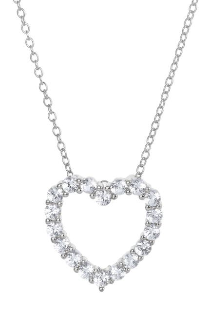 Image of Savvy Cie Sterling Silver Created Sapphire Heart Pendant Necklace