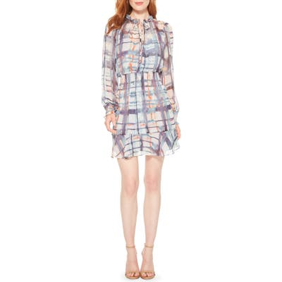 Parker Tie Dye Plaid Long Sleeve Silk Dress, White
