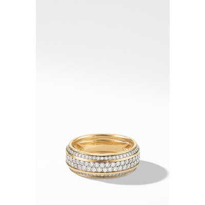 David Yurman Beveled 18K Gold Band Ring With Pave Diamonds