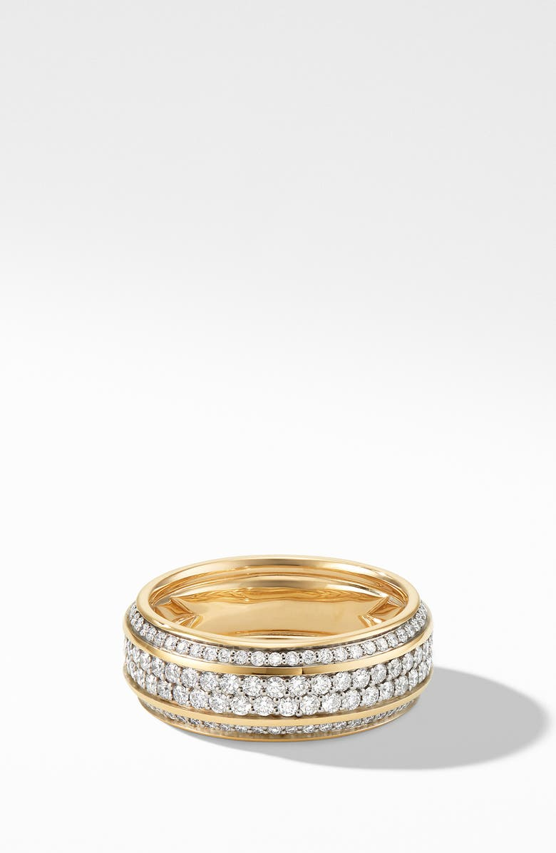 David Yurman Beveled 18k Gold Band Ring With Pave Diamonds Nordstrom