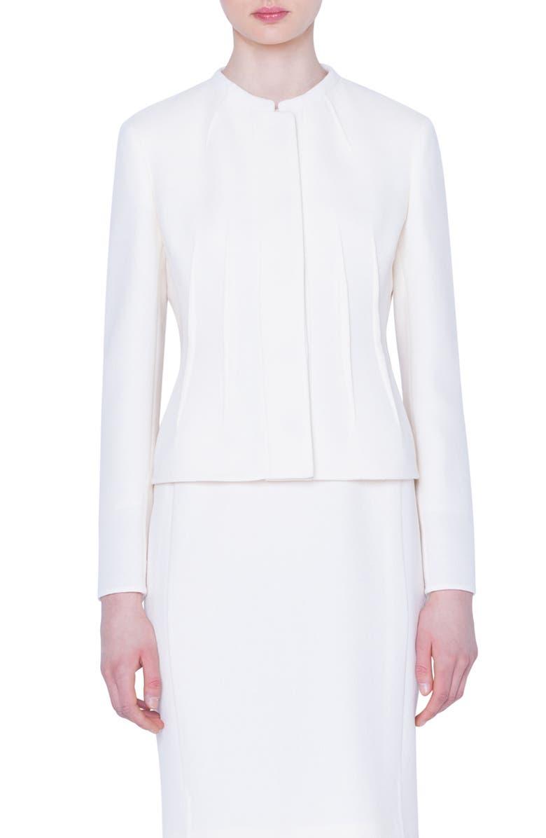 AKRIS Double Face Wool Crepe Jacket, Main, color, CRISP WHITE
