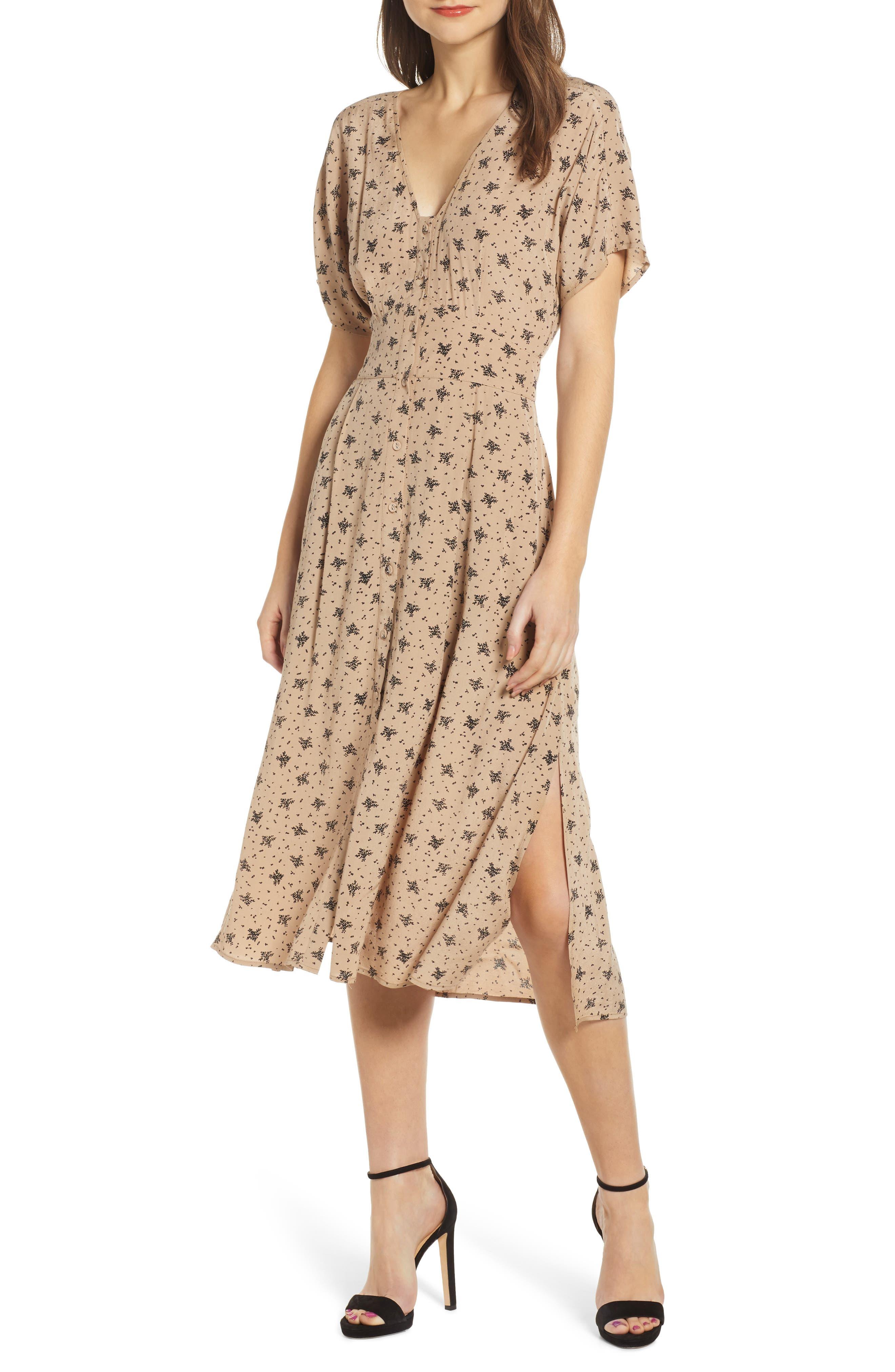 ,                             Dolman Sleeve Button Down Midi Dress,                             Main thumbnail 1, color,                             TAN BLACK MULTI FLORAL