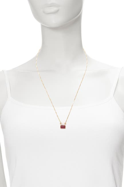 Image of Sole Society 12K Gold Plated Red Jasper & Crystal Pendant Necklace