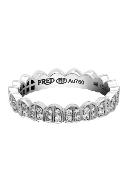 Image of Fred Of Paris White Gold Heart & Diamond Stacking Ring - 0.10 ctw