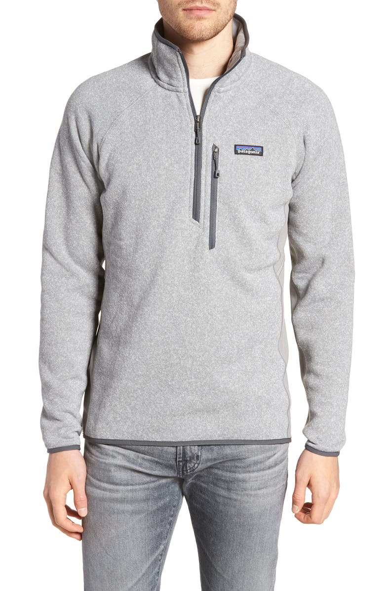 PATAGONIA Better Sweater<sup>®</sup> Performance Slim Quarter-Zip Pullover, Main, color, FEATHER GREY
