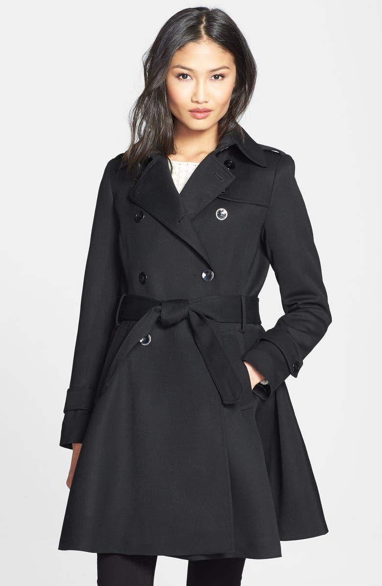 TRINA TURK 'Gwyneth' Flared Wool Gabardine Trench Coat, Main, color, 001