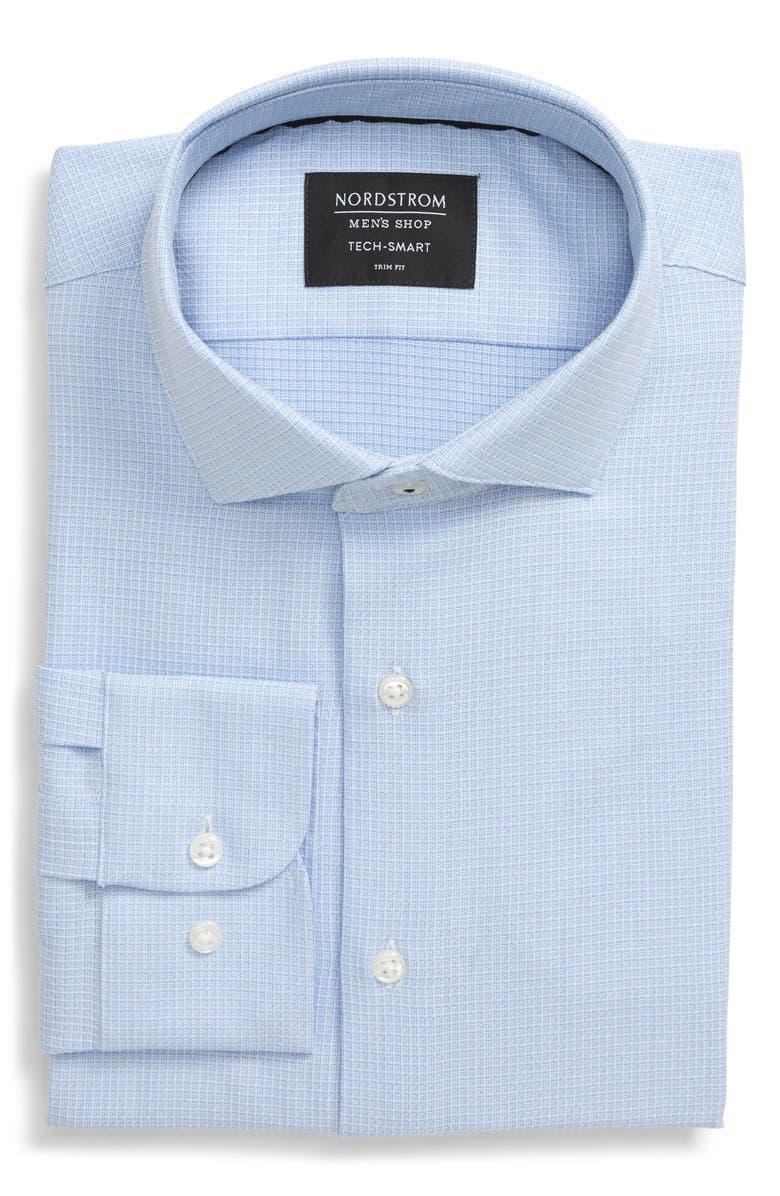 NORDSTROM MEN'S SHOP Tech-Smart Trim Fit Print Dress Shirt, Main, color, BLUE VISTA