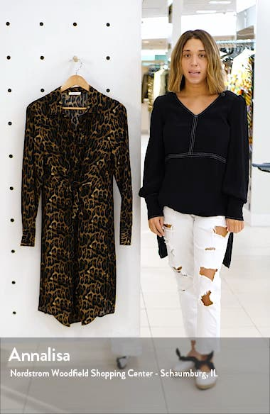 Animal Print Long Sleeve Shirtdress, sales video thumbnail