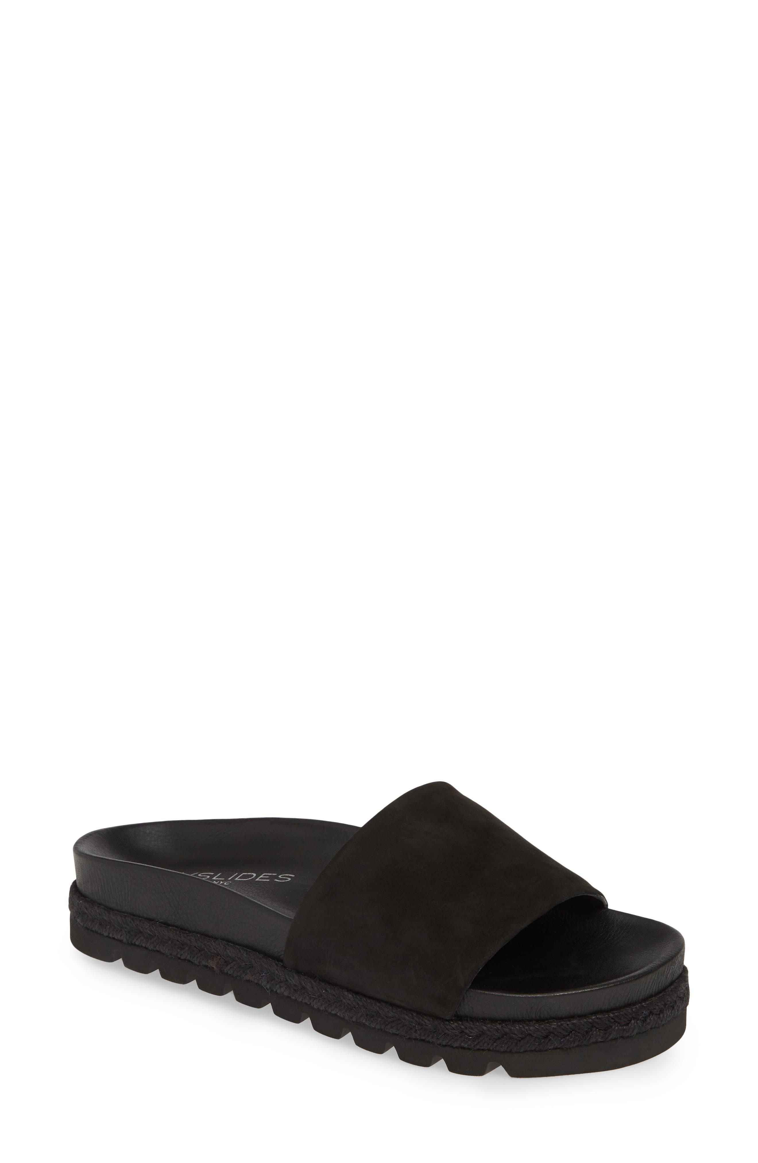 Jslides Espadrille Slide Sandal- Black