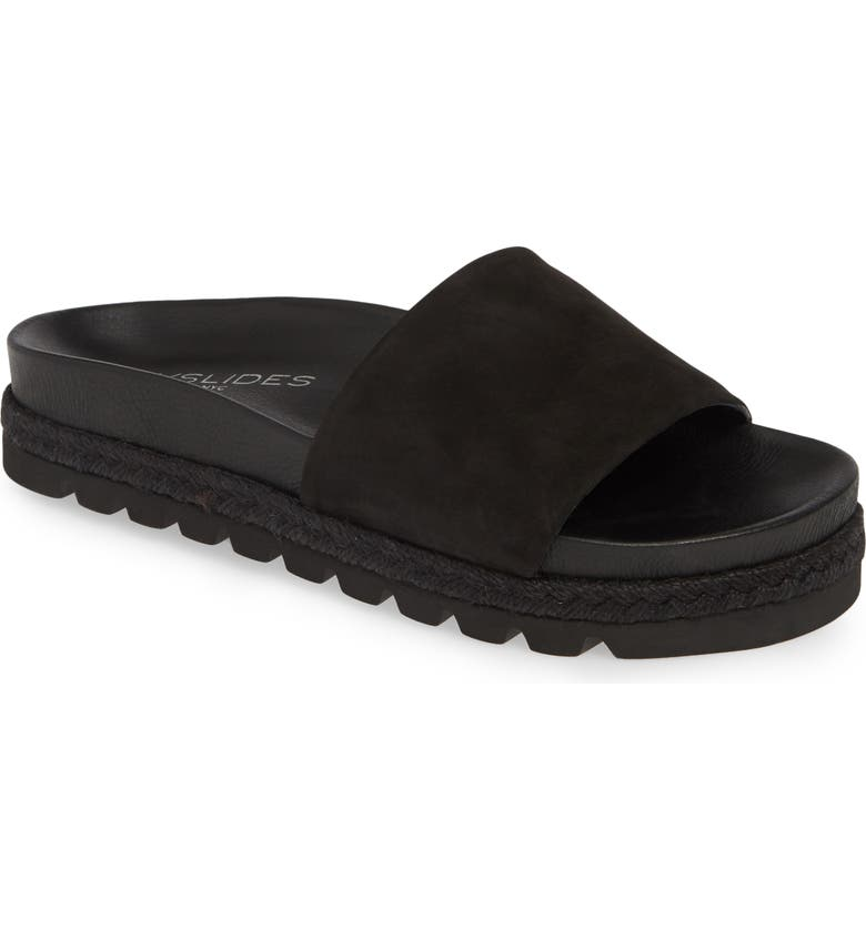JSLIDES Espadrille Slide Sandal, Main, color, BLACK NUBUCK LEATHER