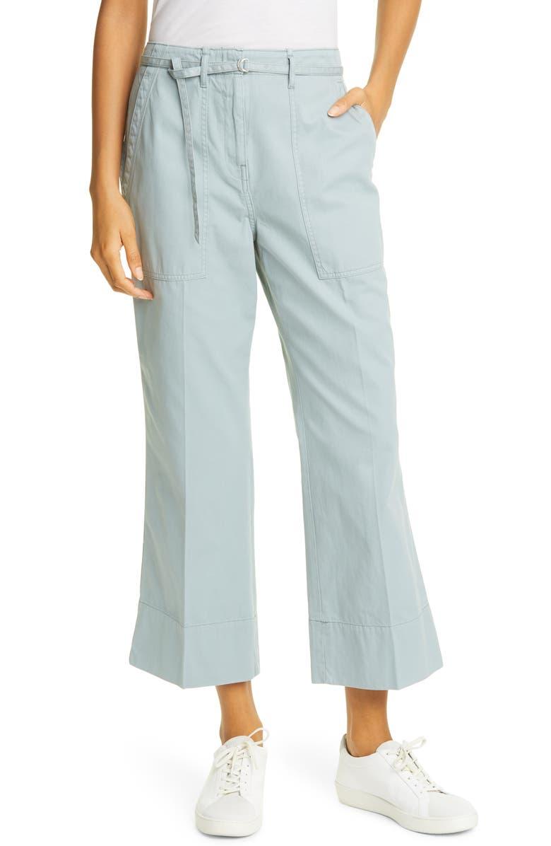 CLUB MONACO Tea Dye Crop Bootcut Cotton Chino Pants, Main, color, PALE TEAL
