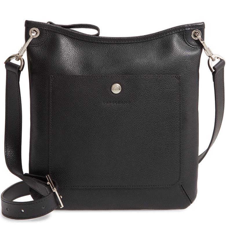 LONGCHAMP Le Foulonné Leather Crossbody Bag, Main, color, 001