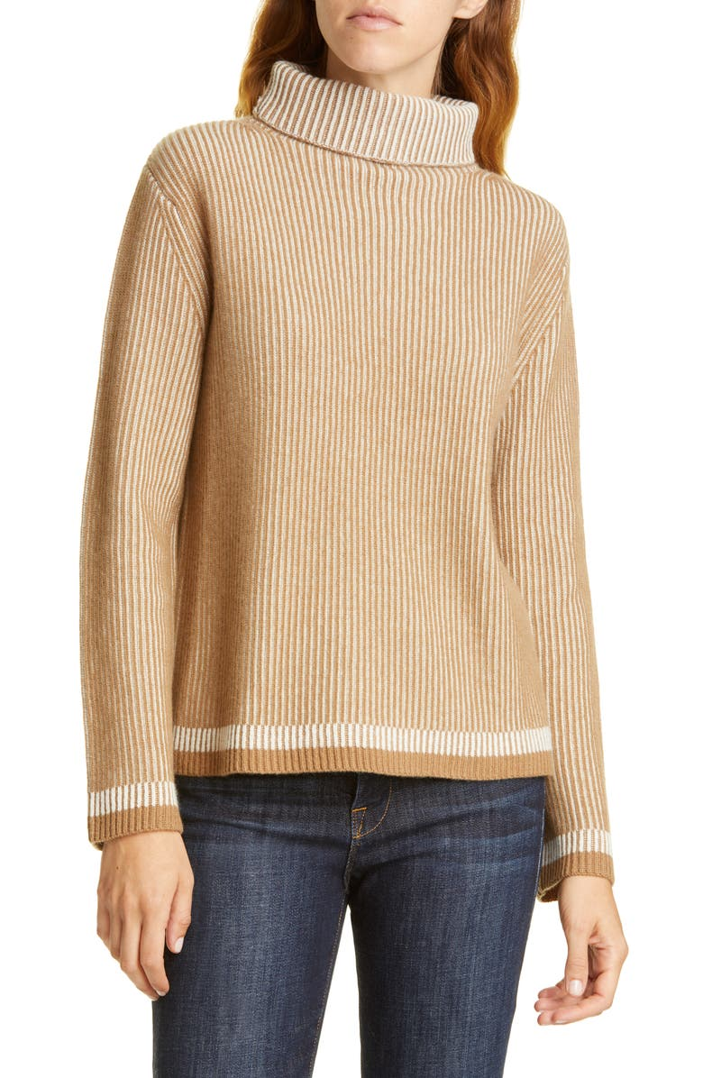 NORDSTROM SIGNATURE Turtleneck Ribbed Cashmere Sweater, Main, color, TAN CAMEL- IVORY STRIPE