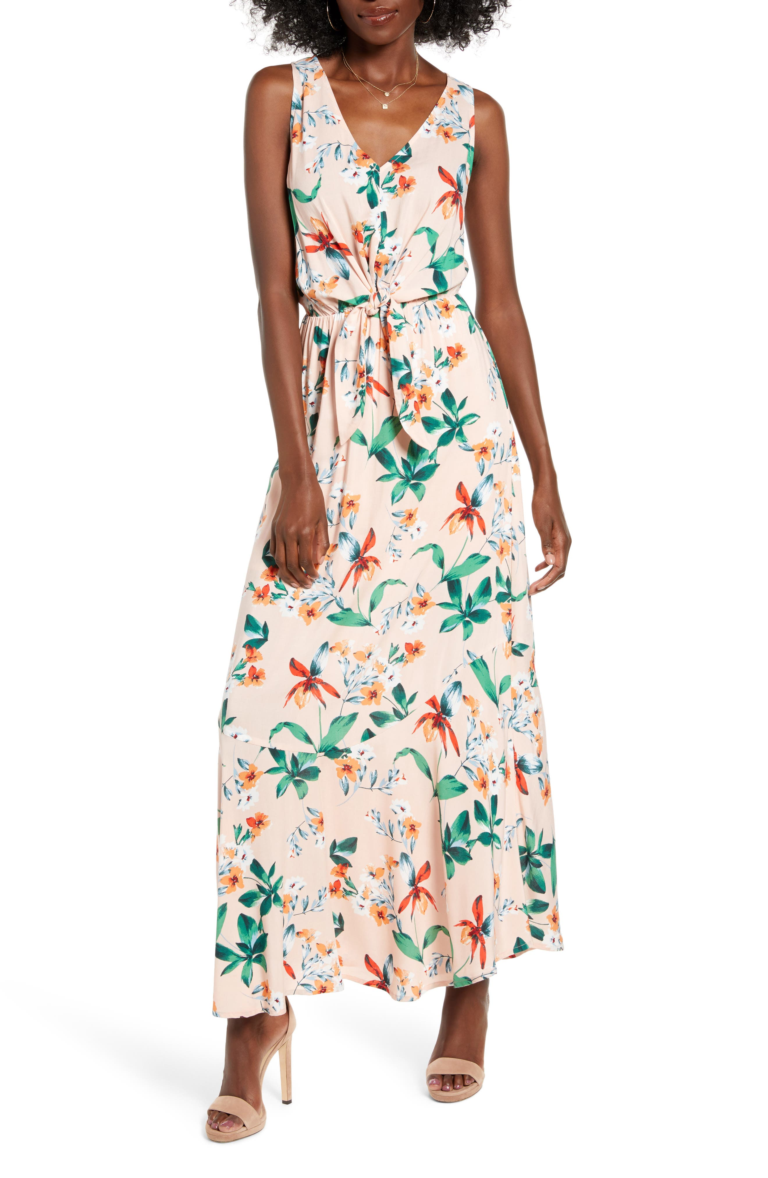 All In Favor Floral Tie Front Sleeveless Maxi Dress, Pink