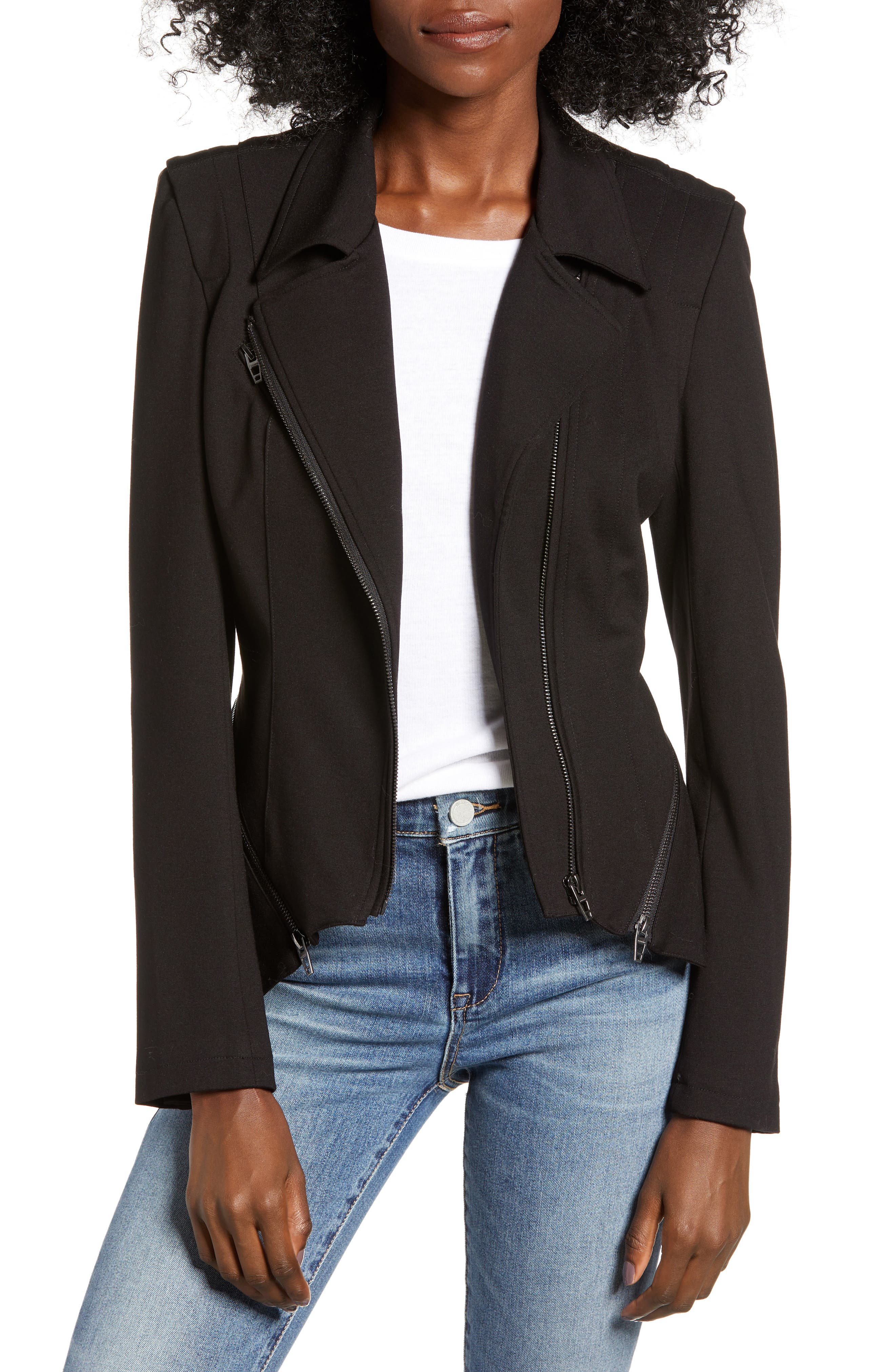 Zip Detail Fitted Ponte Jacket, Main, color, CAVIAR