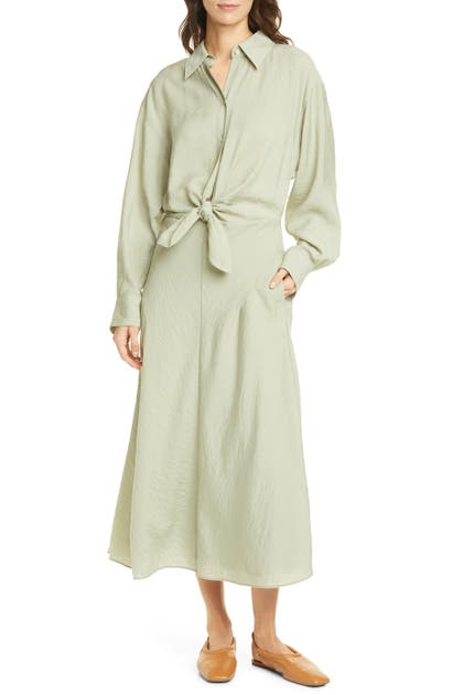 Vince TIE FRONT LONG SLEEVE SHIRTDRESS
