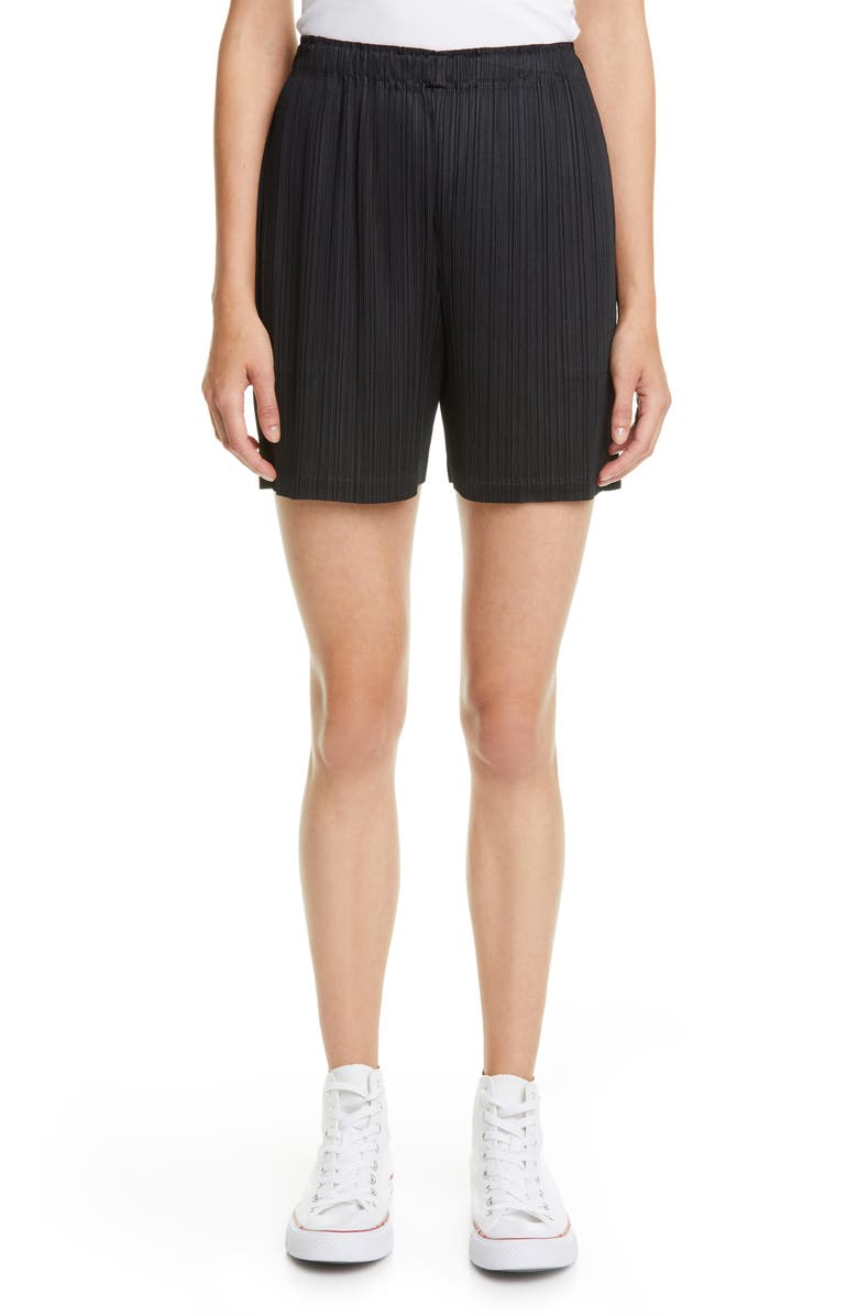 PLEATS PLEASE ISSEY MIYAKE June Pleated Shorts, Main, color, BLACK