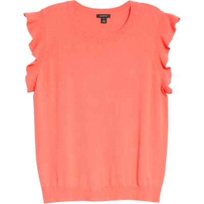 Plus Size Halogen Flutter Sleeve Sweater, Coral