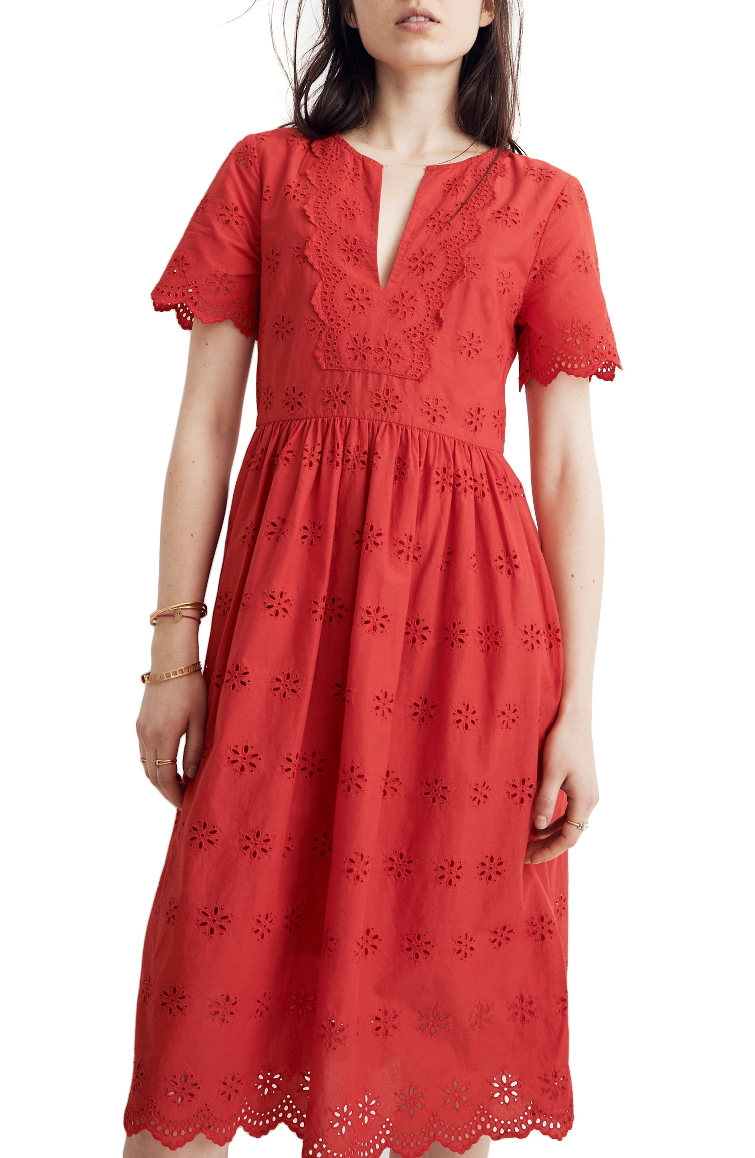Madewell Scallop Eyelet Midi Dress, Red
