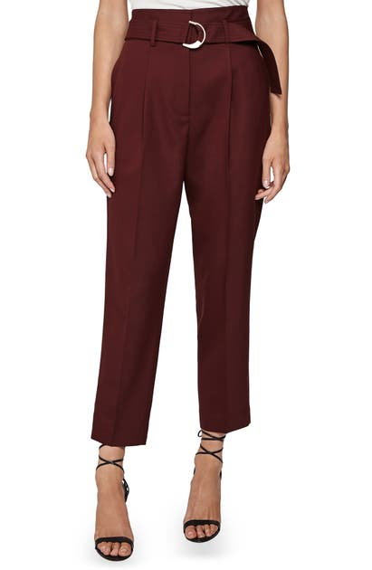Reiss Pants BYTHE BELTED WOOL BLEND ANKLE TROUSERS