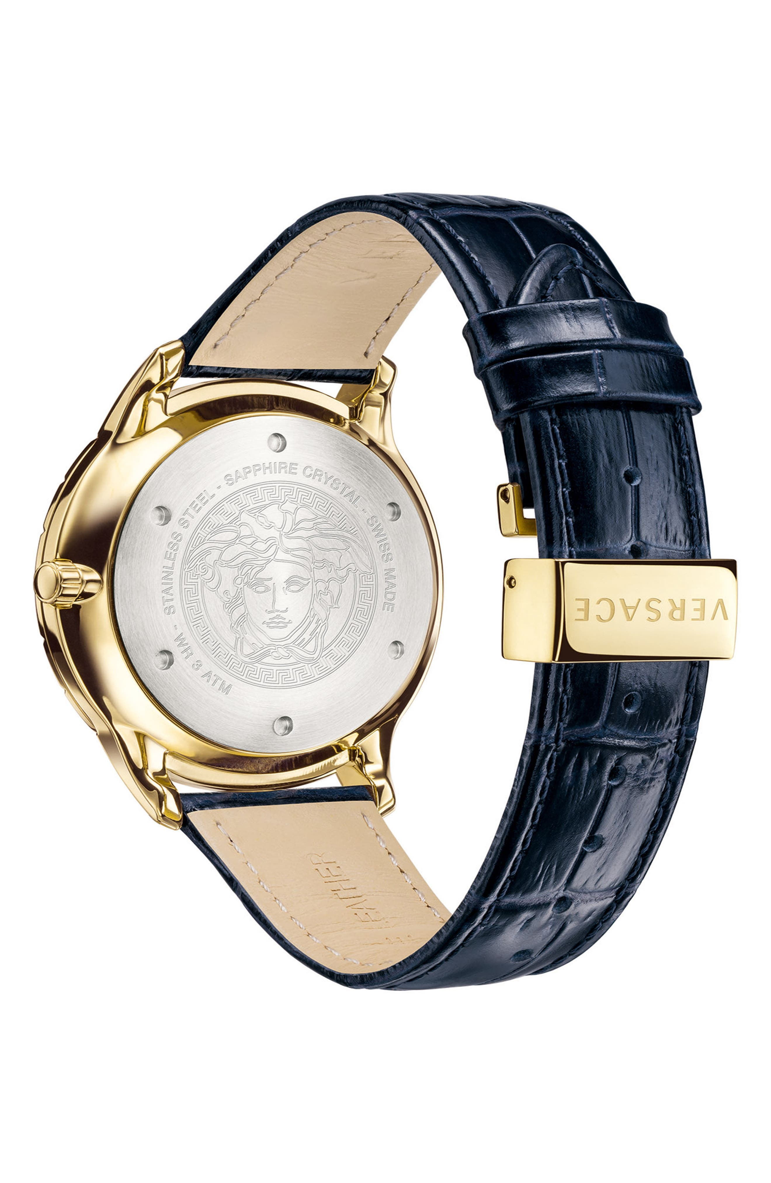 ,                             Univers Leather Strap Watch, 43mm,                             Alternate thumbnail 2, color,                             BLUE/ GOLD