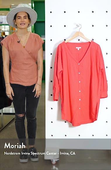 Oversize Linen Blend Cover-Up Shirt, sales video thumbnail
