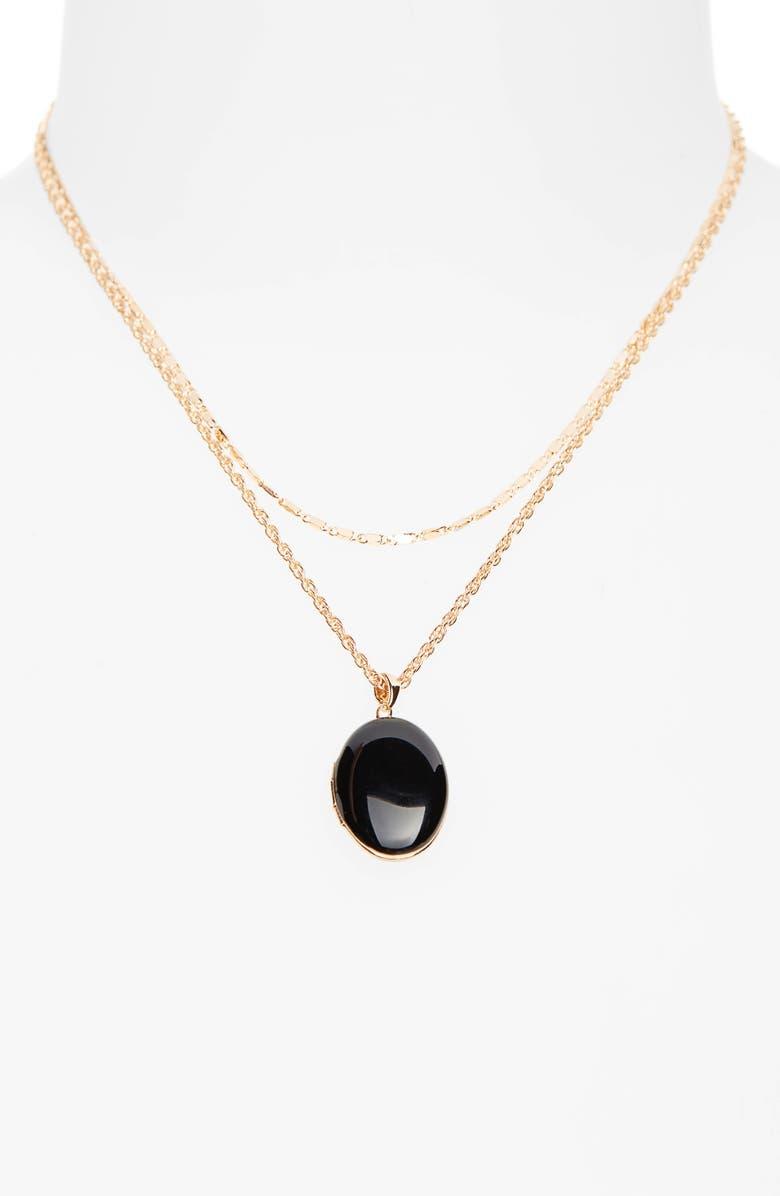 BP. Locket Layered Necklace, Main, color, BLACK- GOLD