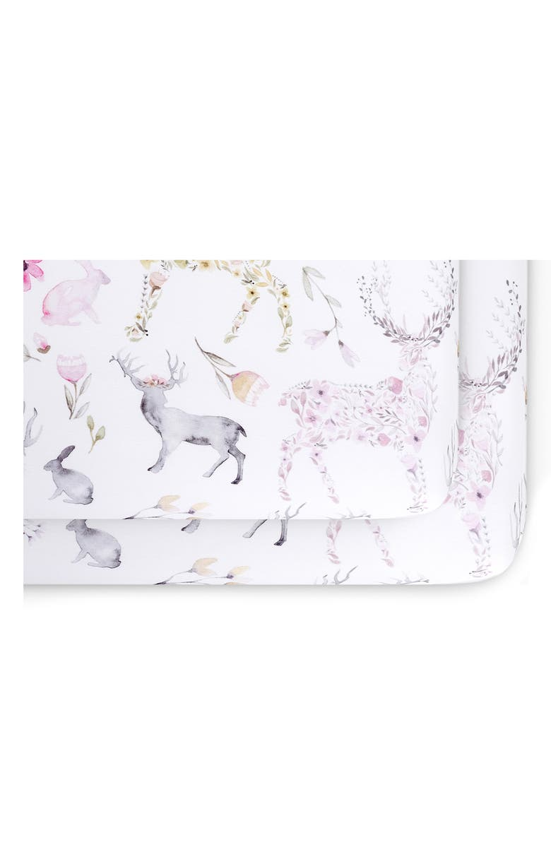 OILO 2-Pack Fitted Fawn Print Jersey Crib Sheets, Main, color, BLUSH