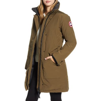 Canada Goose Ellesmere Arctic Tech 625 Fill Power Down Parka With Genuine Coyote Fur Trim, Green