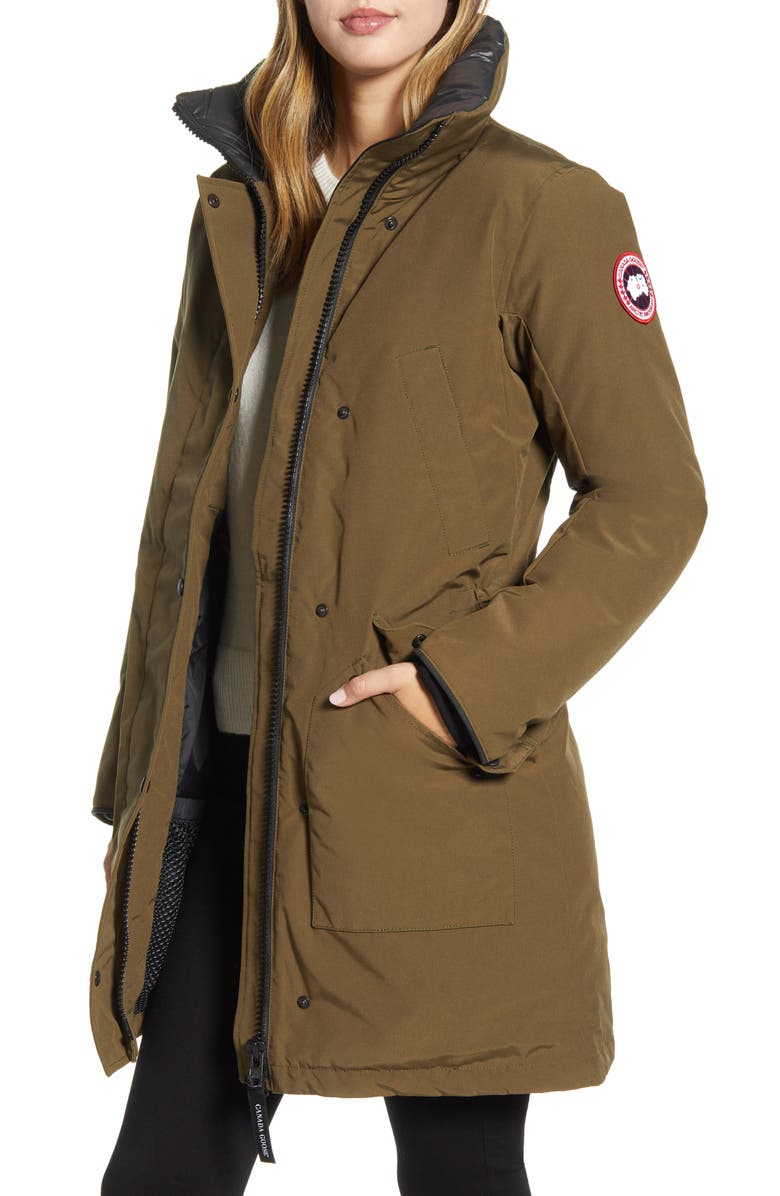 CANADA GOOSE Ellesmere Arctic Tech 625 Fill Power Down Parka with Genuine Coyote Fur Trim, Main, color, MILITARY GREEN
