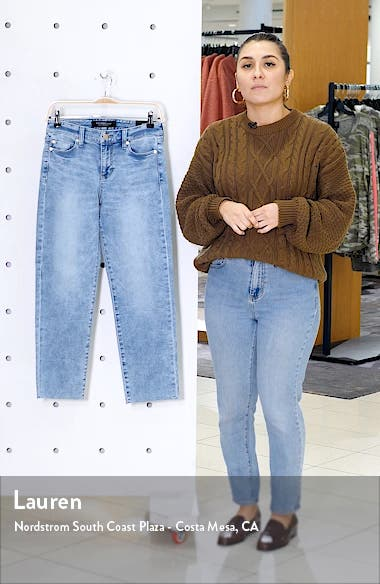 High Waist Raw Hem Crop Jeans, sales video thumbnail