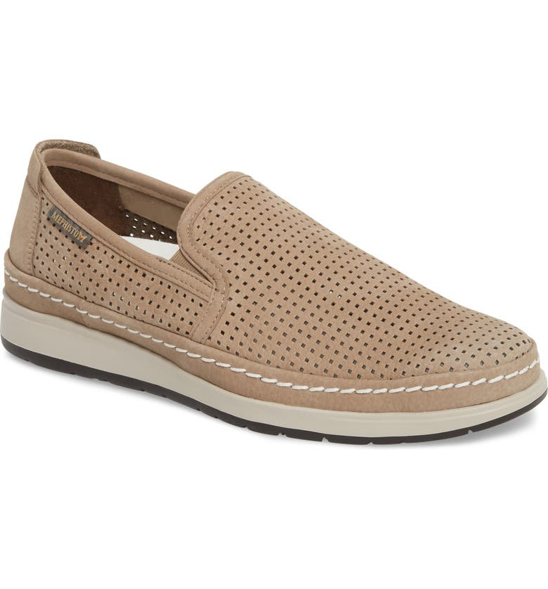 MEPHISTO Hadrian Perforated Slip-On, Main, color, SAND
