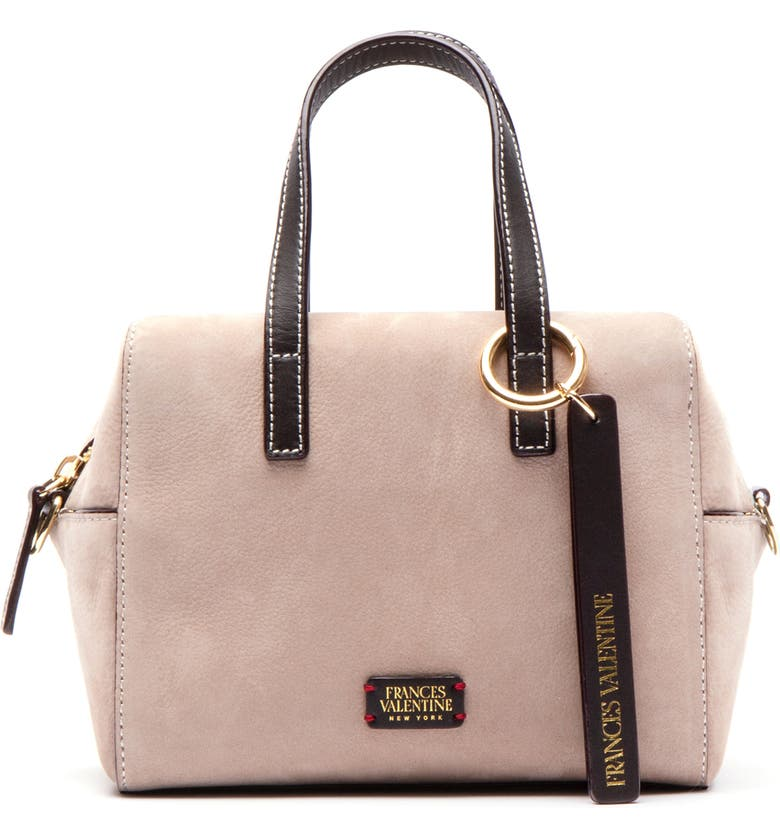 FRANCES VALENTINE Leather Satchel, Main, color, SAND/ CHOCOLATE