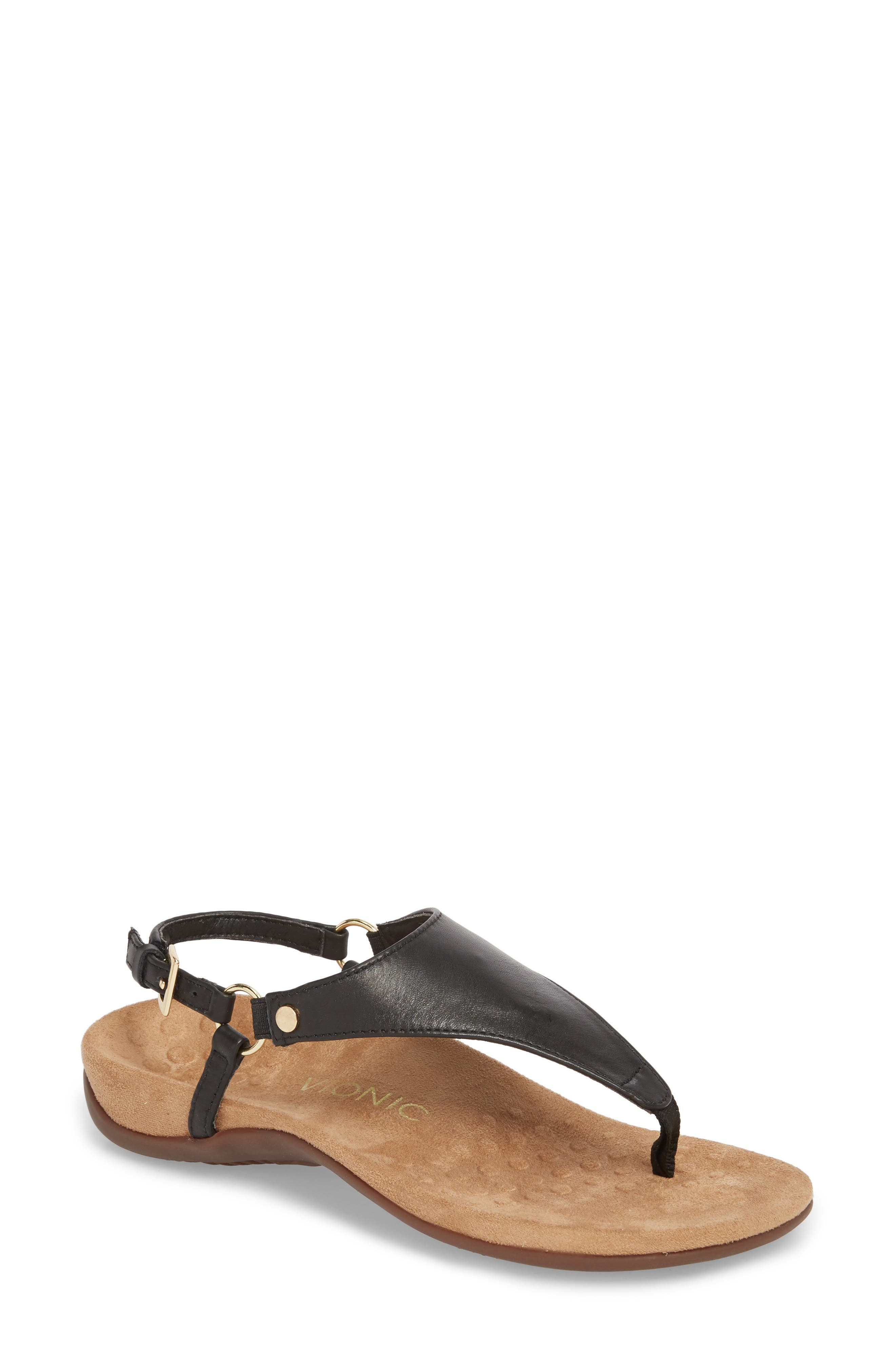 ,                             Kirra Orthaheel<sup>®</sup> Sandal,                             Main thumbnail 1, color,                             BLACK LEATHER