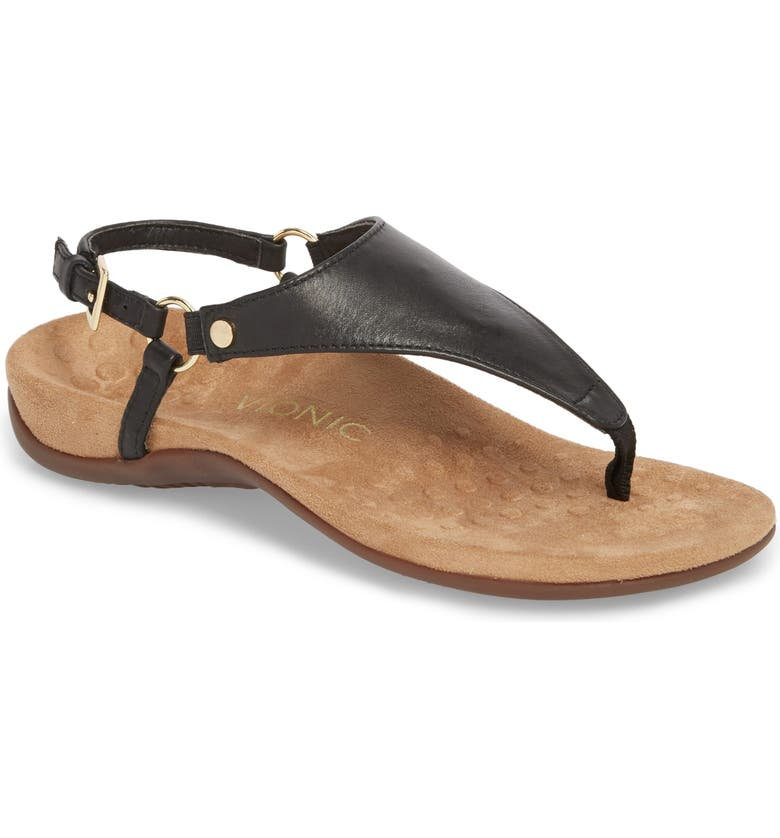 VIONIC Kirra Orthaheel<sup>®</sup> Sandal, Main, color, BLACK LEATHER