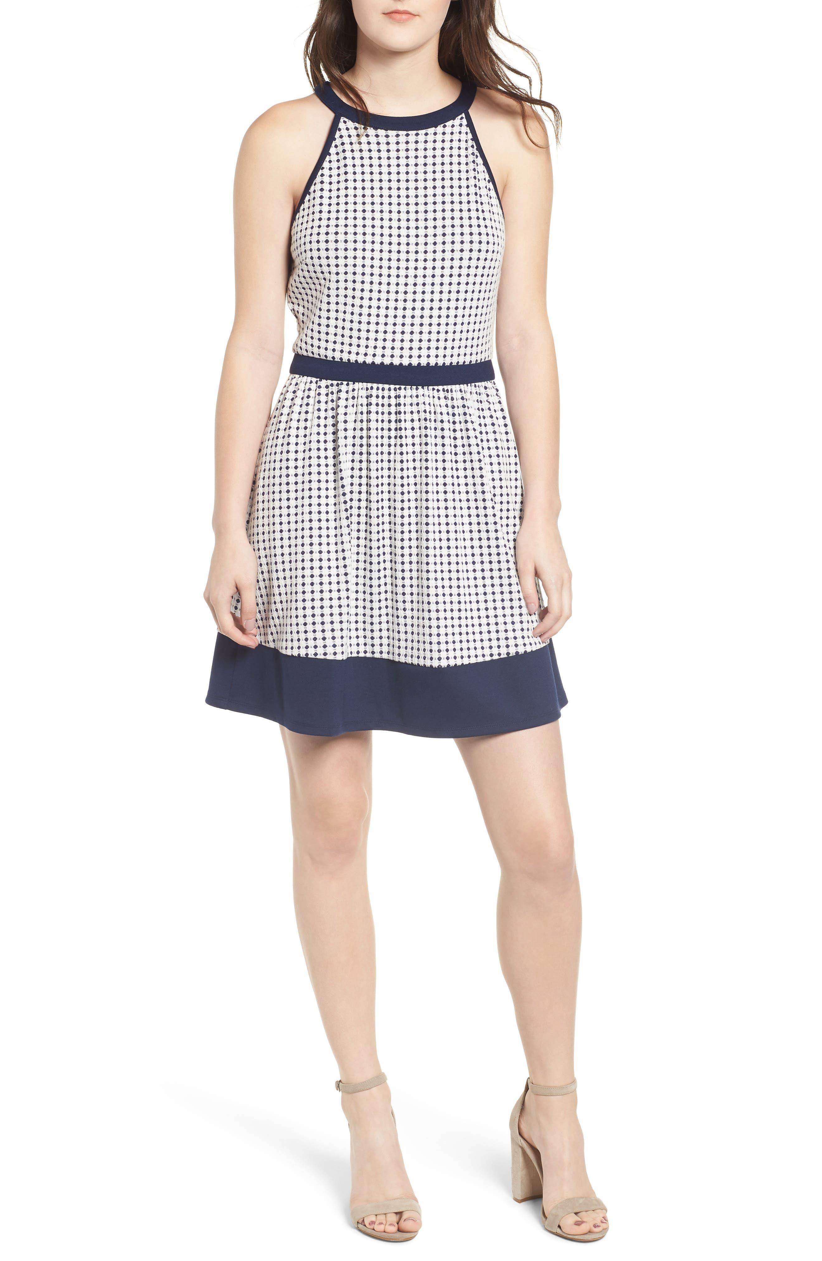 Speechless Knit Dot Skater Dress, White