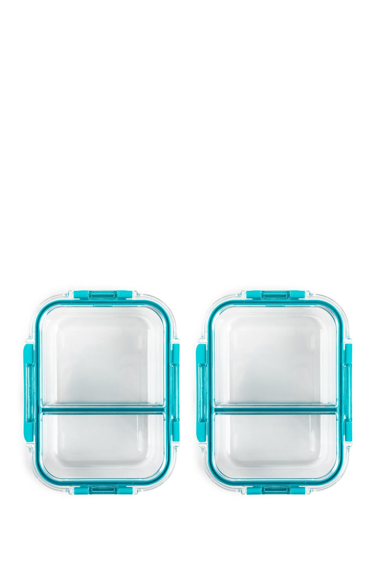 Image of Core Home 32oz TrueDivide Glass Food Storage Container - Teal - Set of 2