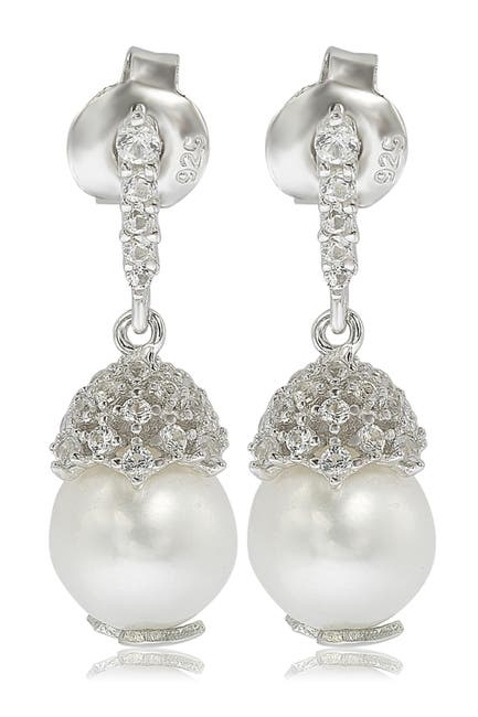 Image of Suzy Levian Sterling Silver 8mm Freshwater Pearl & Created Sapphire Dangle Earrings