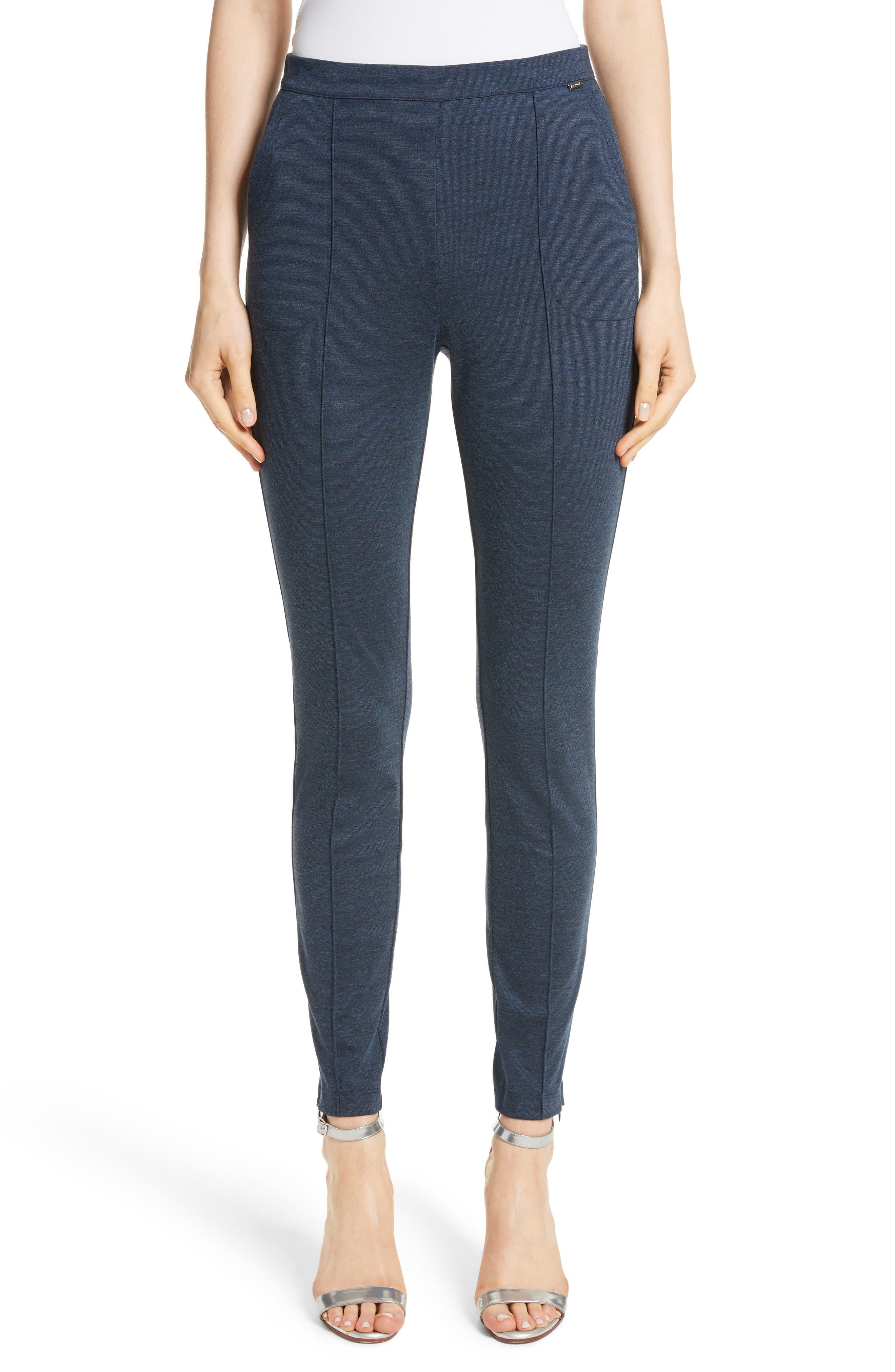 Mélange Stretch Ponte Crop Pants, Main, color, DARK BLUE