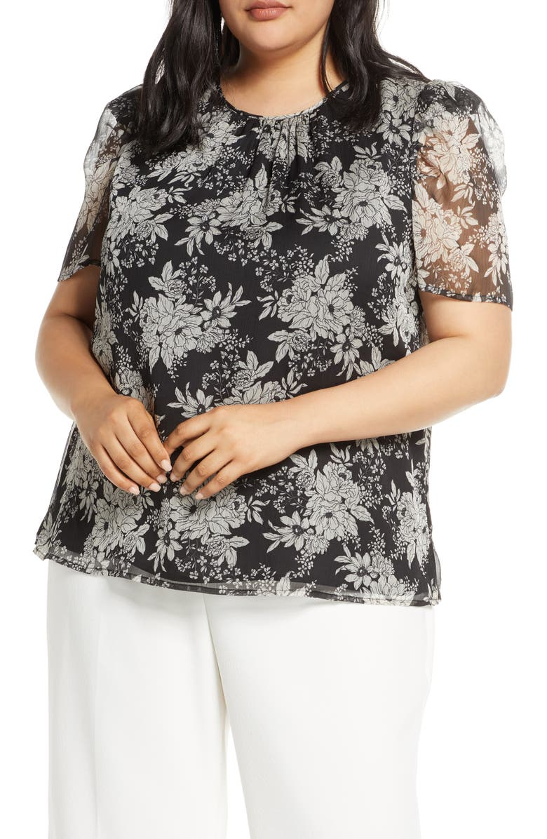VINCE CAMUTO Botanical Puff Sleeve Blouse, Main, color, 001