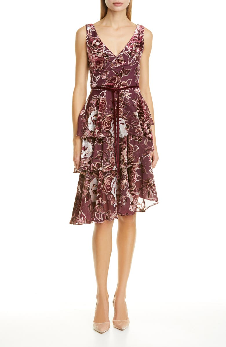 MARCHESA NOTTE Floral Tiered Velvet Cocktail Dress, Main, color, WINE